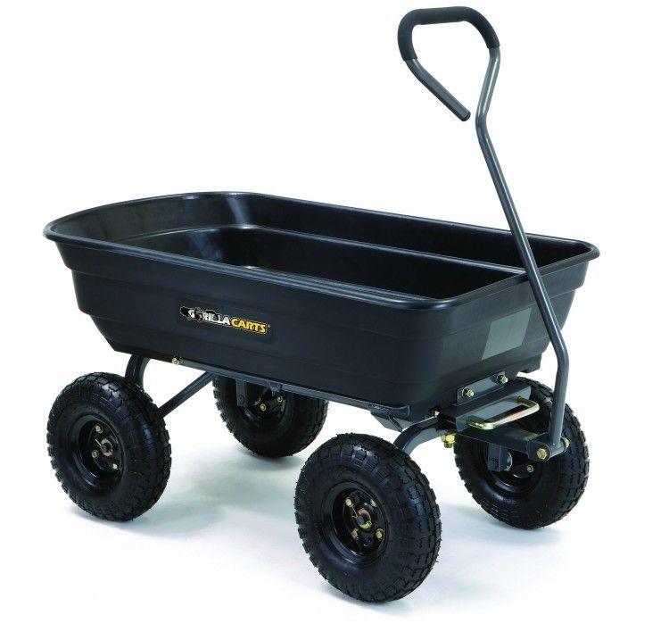 Garden Dump Cart Rugged Pneumatic Tires Padded Handle Rust Proof 4