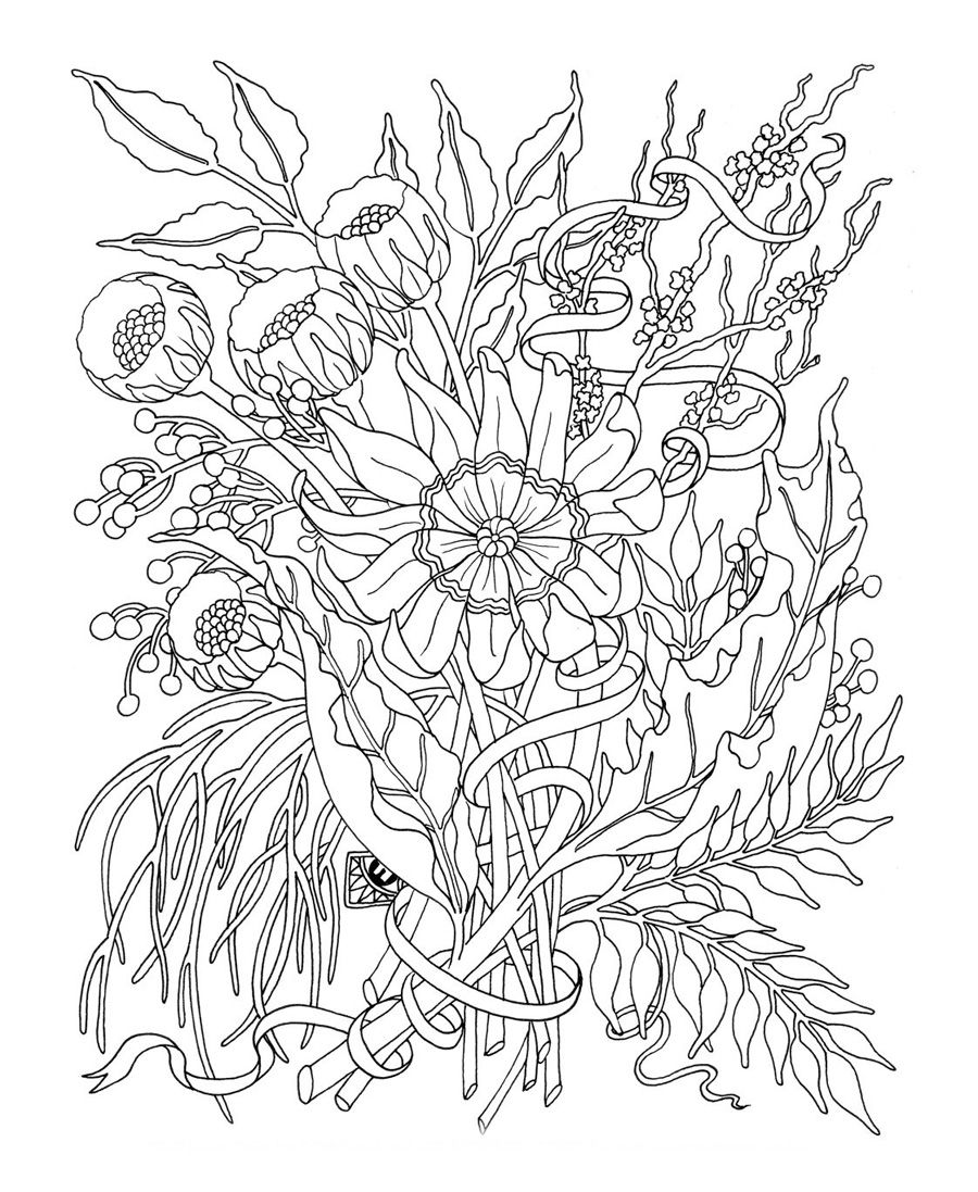 Flower Coloring Pages For Adults  Printable flower coloring pages