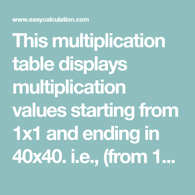 This Multiplication Table Displays Multiplication Values Starting From 1x1 And Ending In 40x40 I E Multiplication Table Multiplication Chart Multiplication