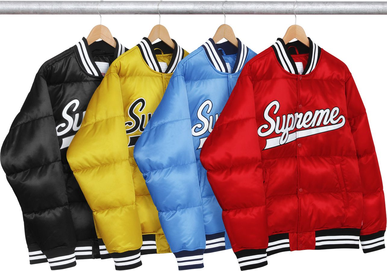 Supreme Script Varsity Puffy Jacket Mens Outdoor Jackets Mens Fashion Wear Attire Women [ 900 x 1285 Pixel ]