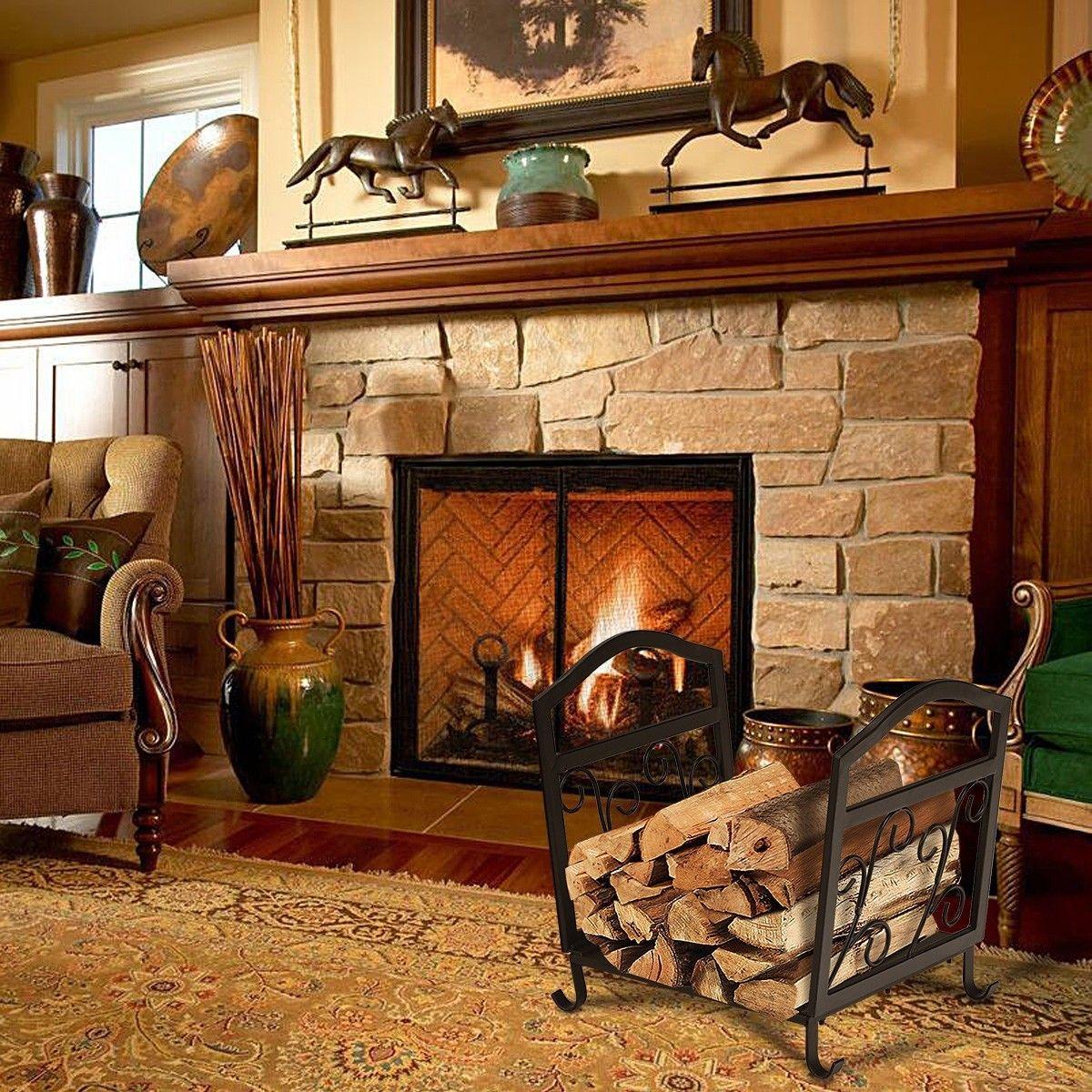 Fireplace Log Holder Wrought Iron Indoor Fire Wood Rack Wood