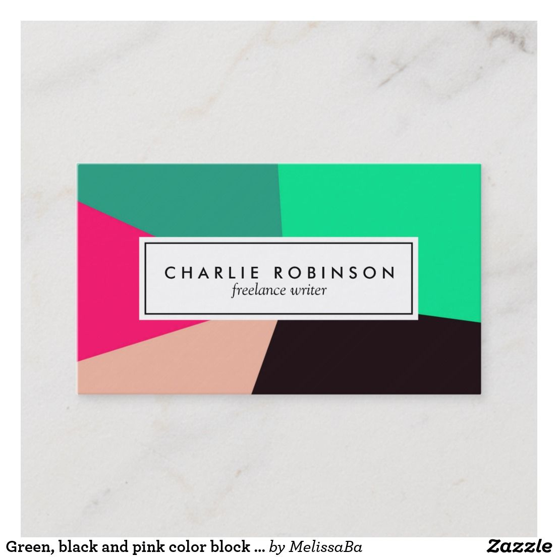 Green Black And Pink Color Block Business Card Zazzle Com Pink Color Color Block Printing Double Sided
