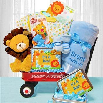 bbe8122cccfc Deluxe Welcome Wagon for Baby Boy. See more at www.giftbasketpros.com!
