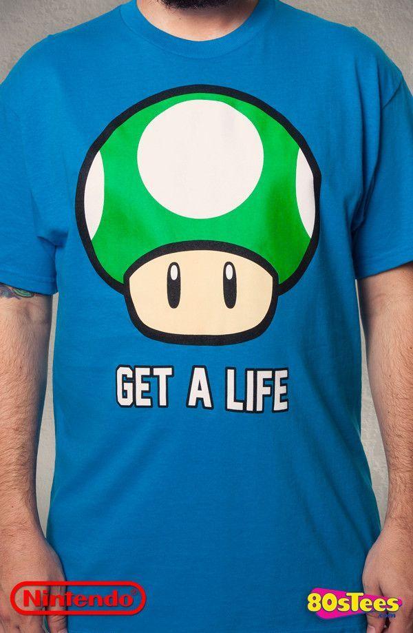 647611ceca Super Mario Bros. Get A Life T-Shirt: Super Mario Bros. Mens T-Shirt ...