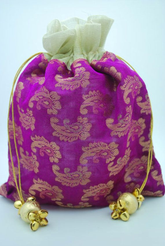 Indian Sari Fabric Bollywood Party Tassel Jeweled Purple Paisley