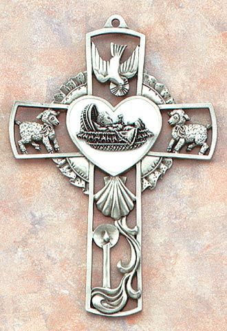 Baby wall cross with heart shaped center clam shells shell and baby wall cross with white enameled center crib featuring holy spirit lambs and clam shell negle Image collections