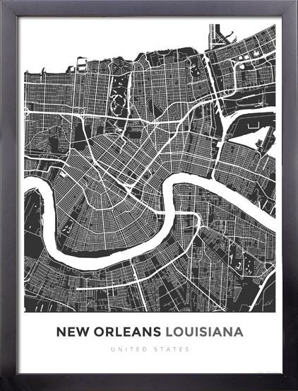 Framed Map Poster of New Orleans Louisiana Simple Contrast New
