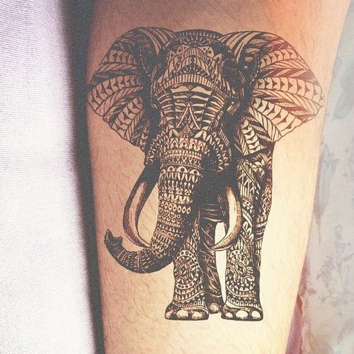 Amazingly detailed elephant tattoo