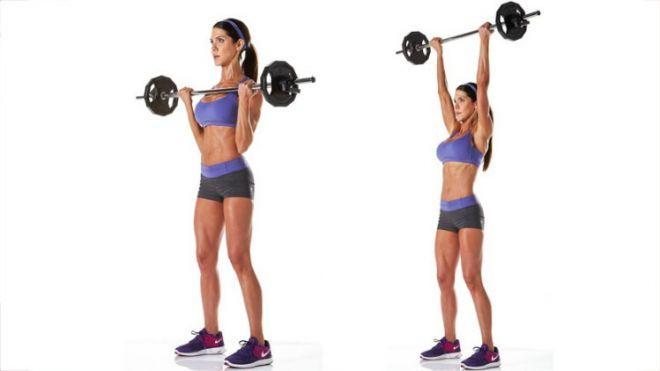 standing barbell shoulder press for women - Google Search | Barbell shoulder press, Bench press, Bench press workout