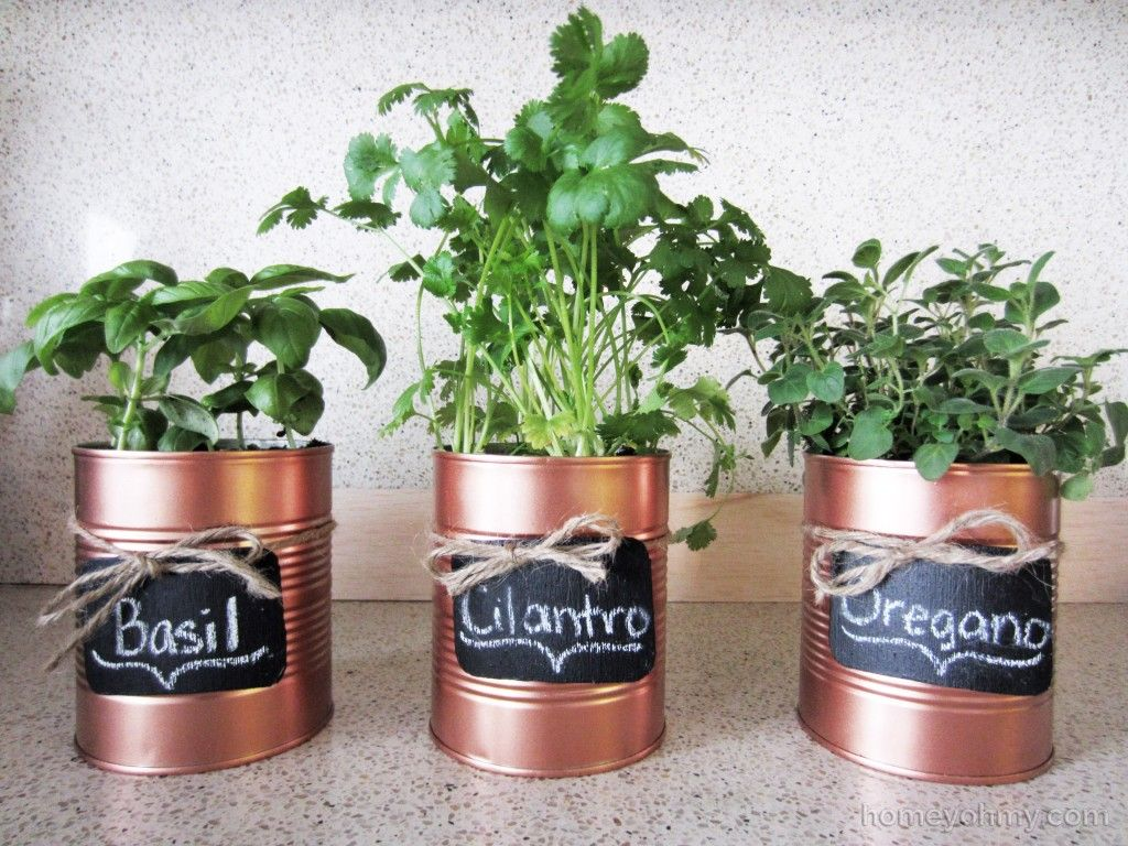 DIY Copper Tin Can Planters and Chalkboard Tags | Copper spray ...