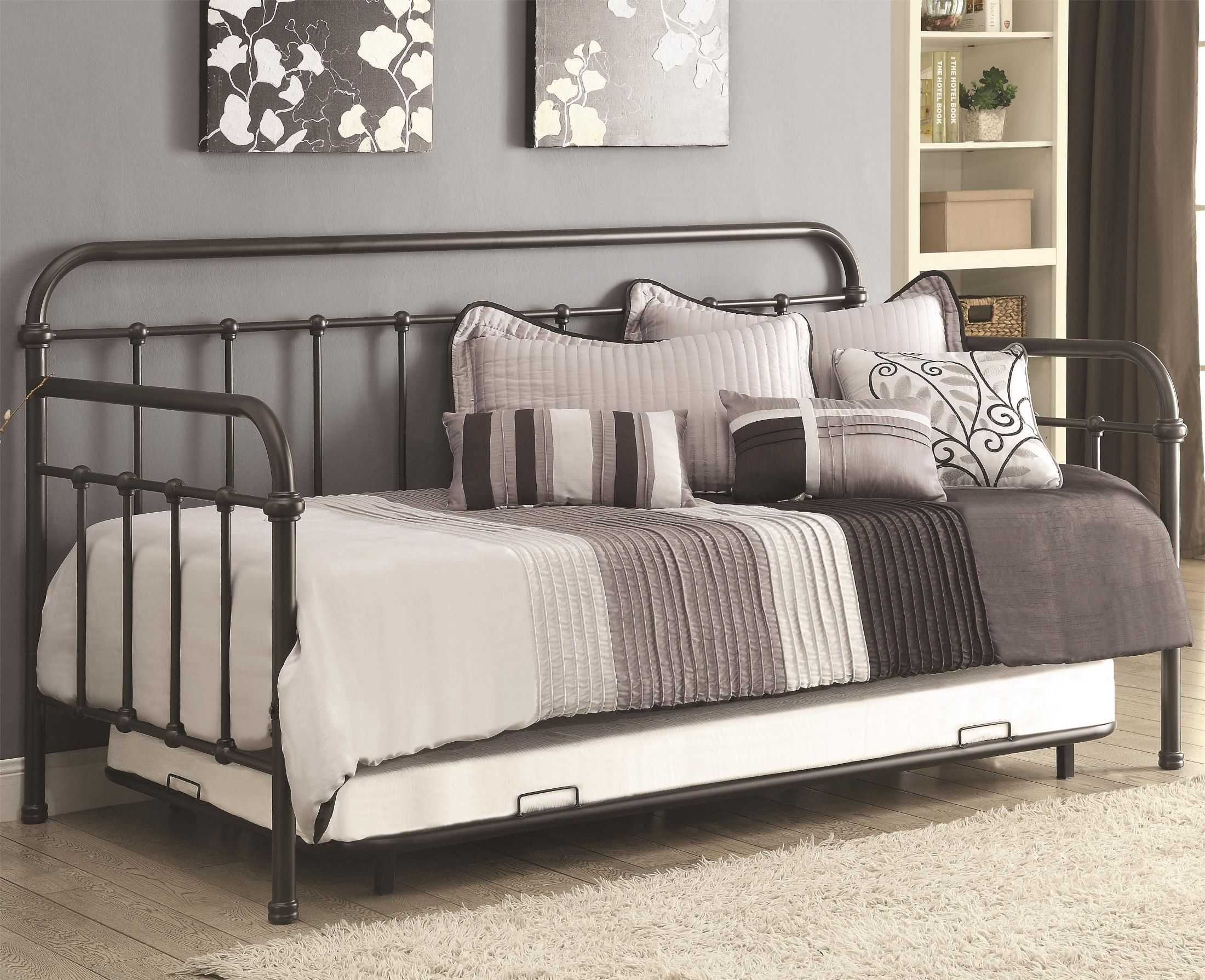 300398 dark bronze metal twin daybed with trundle daybed