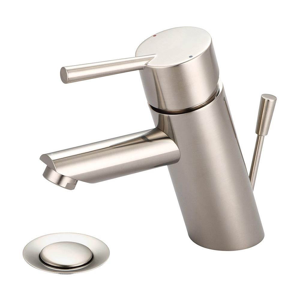 Photo of Olympia taps i2 single-hole, single-lever bath mixer with brushed nickel drain