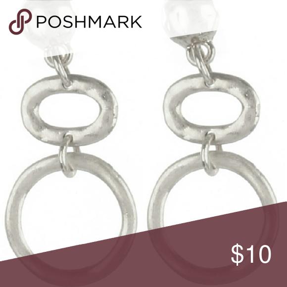 Matte Slivertone earrings EARRING / HAMMERED METAL / DOUBLE RING DANGLE / MATTE FINISH / POST PIN / 1 1/2 INCH DROP / NICKEL AND LEAD COMPLIANT Jewelry Earrings