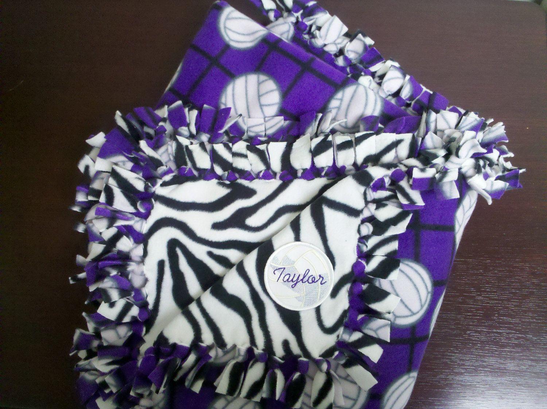 Purple volleyball with zebra print handtied fleece blanket