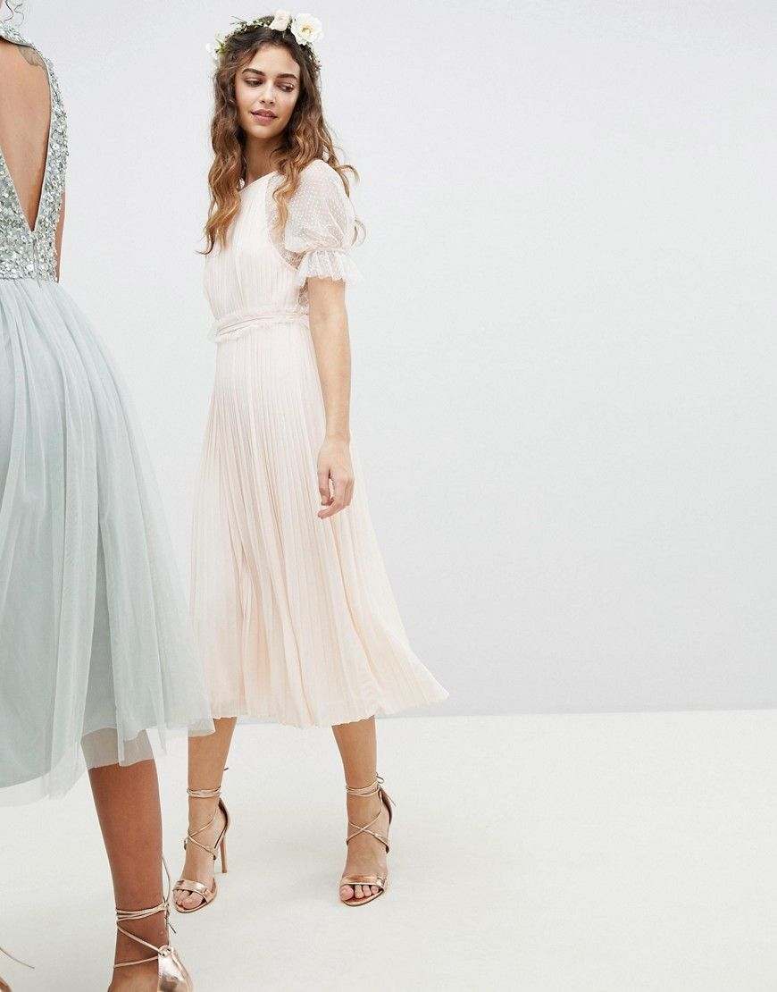 cc8ab765 TFNC WEDDING Pleated Midi Dress With Spot Mesh Frill Detail - Pink