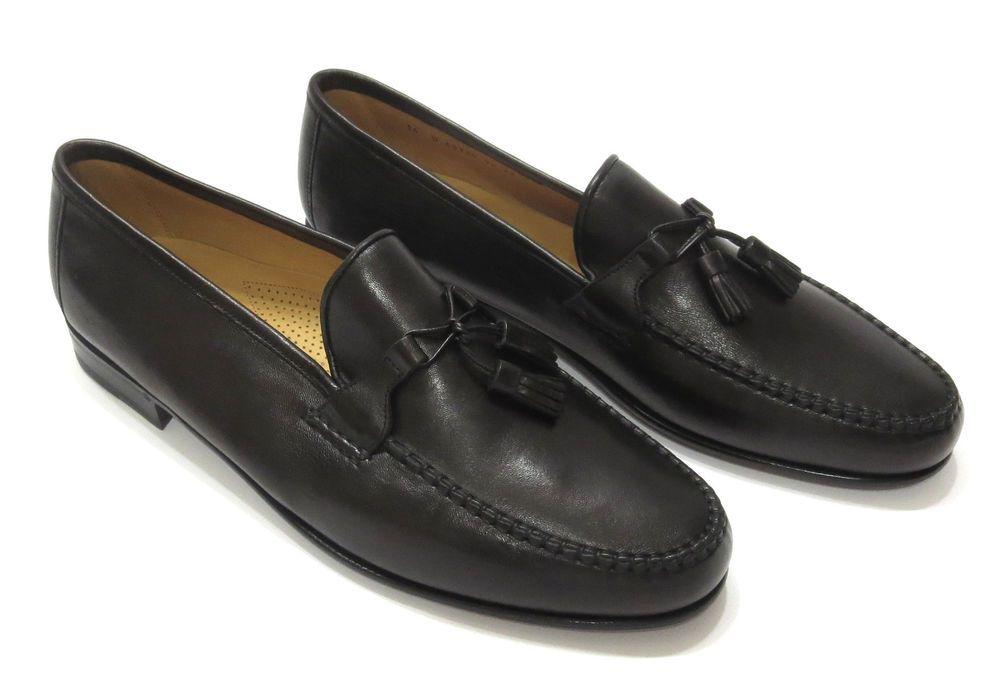 3132cd3f855 Allen Edmonds Urbino 14 D Soft Black Leather Tassel Dress Loafer Mens Shoe  Italy  AllenEdmonds  LoafersSlipOns