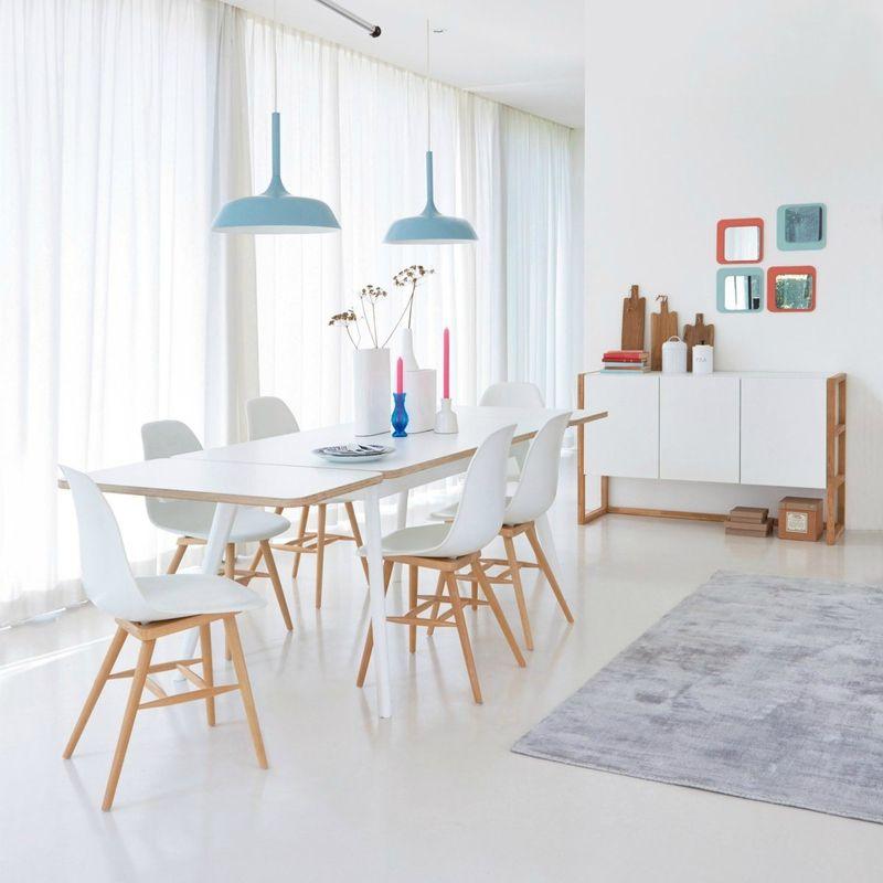 Salle A Manger Blanche Et Bleue D Inspiration Scandinave Dinning