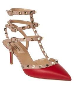 Valentino Valentino Rockstud Leather Ankle Strap Pump