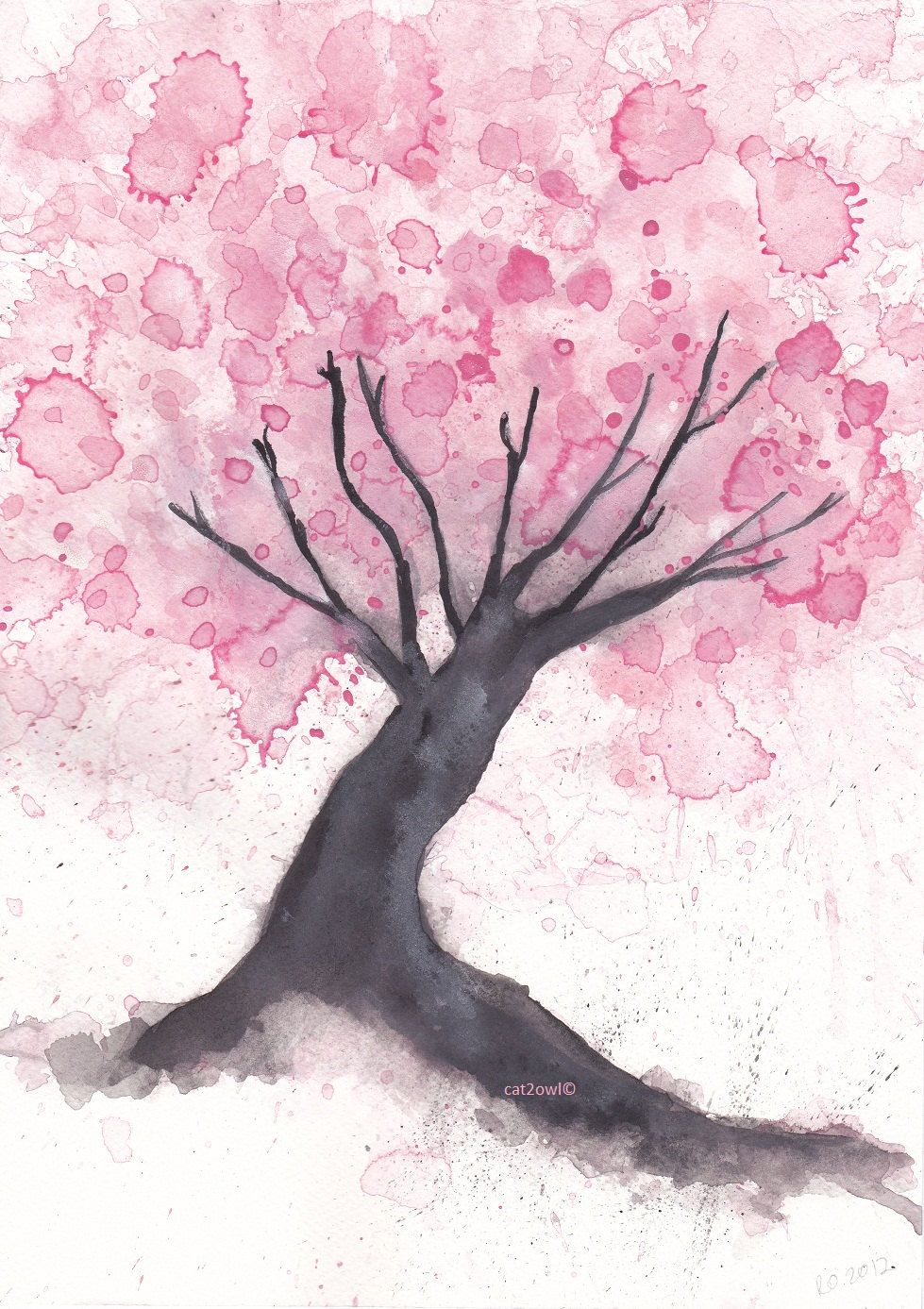 Images For > Cherry Tree Flower Drawing DIY Watercolor
