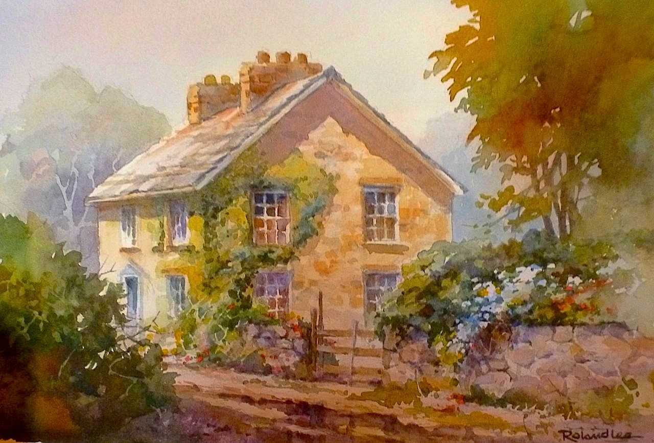 Roland lee travel sketchbook painting stone buildings and for Watercolor cottages