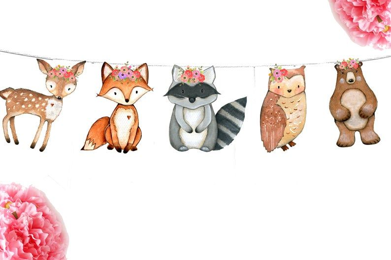 Kids Birthday Party Nursery Garland Baby Shower Banner Woodland Animals Garland Clip On Accessories Bear Bunny Fox Owl Deer
