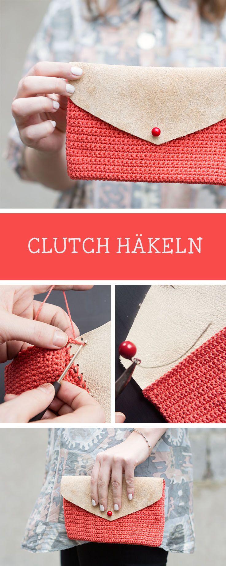 Diy Anleitung Kleine Häkel Clutch Mit Leder Crochet Pattern