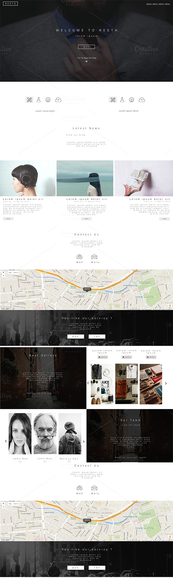 Resta Landing Page - PSD Template. Bootstrap Templates. $4.00
