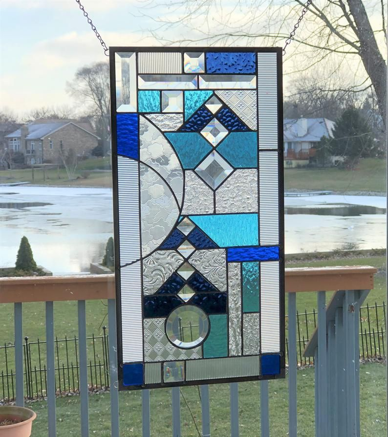 Blue Clear Stained Glass Panel Window Geometric Abstract Stained Glass Window Panel Window Hanging Transom 0464 22 1 2 X 11 1 2 In 2020 Stained Glass Panel Window Panels Stained Glass