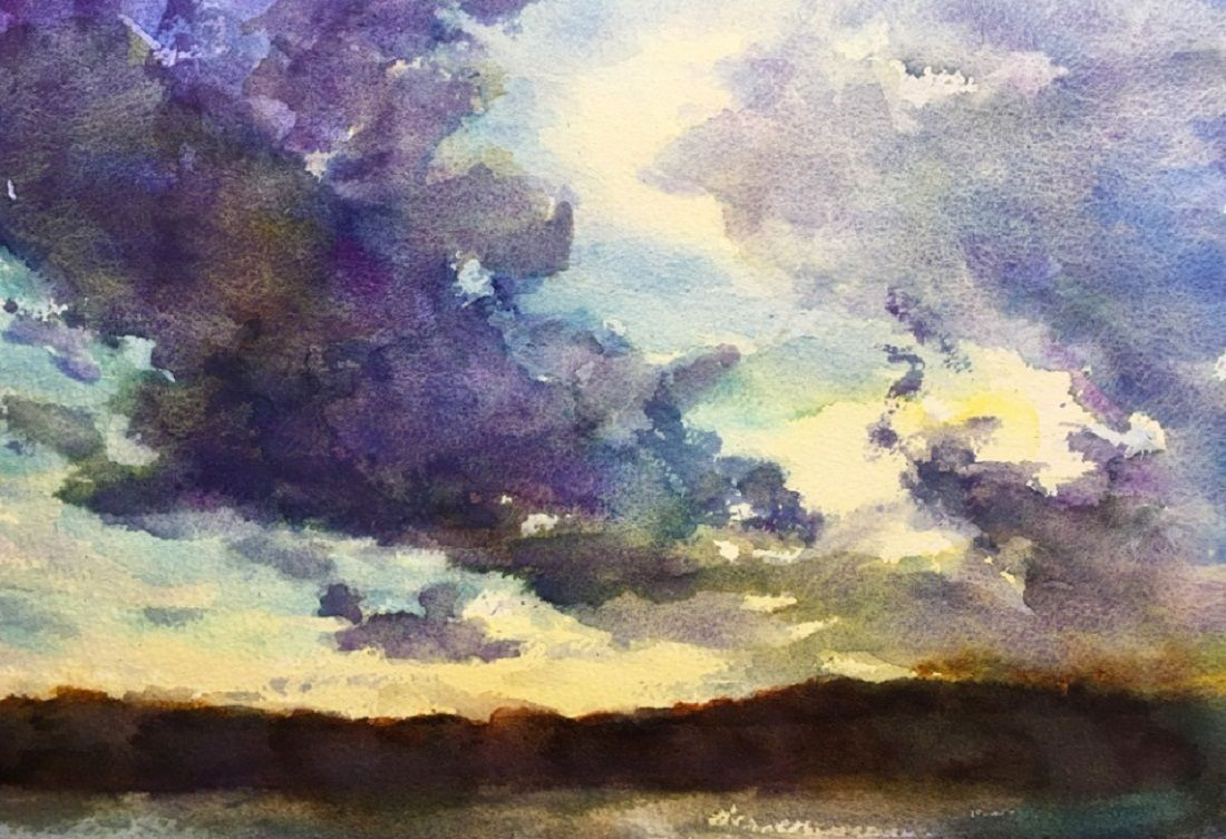How to make sunset clouds watercolor painting the art