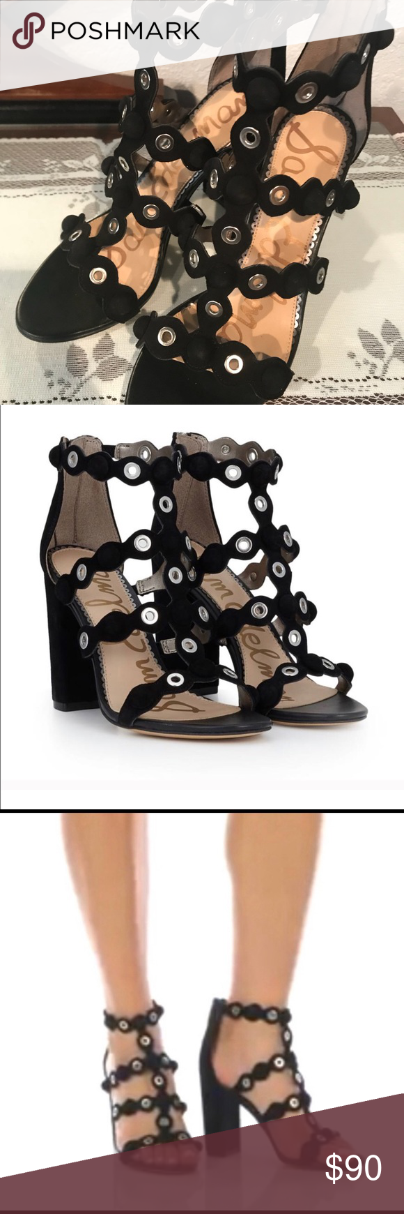 "f25b23e9ff2 Brand New - Sam Edelman Yuli Strappy Sandal Black with silver hardware.  Never worn but no longer have box or tags. Open toe. Heel Height  4""  Material  Suede ..."