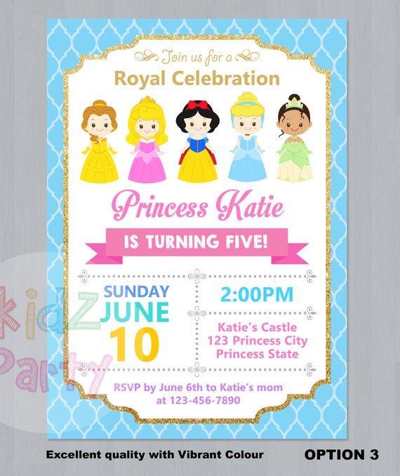 Disney Prinzessin Einladung Prinzessin Geburtstagseinladung