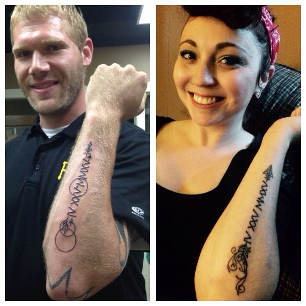 Married Couple Tattoo. Wedding Date Roman Numerals With