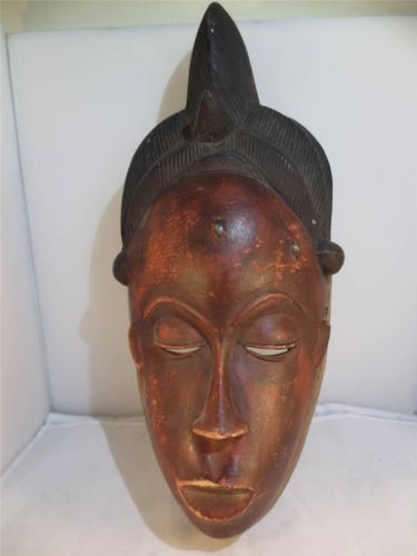 """AFRICAN ART, TRIBAL ART, Carved Wood Ethnic Mask w very fine detail. 16"""" x 7"""""""