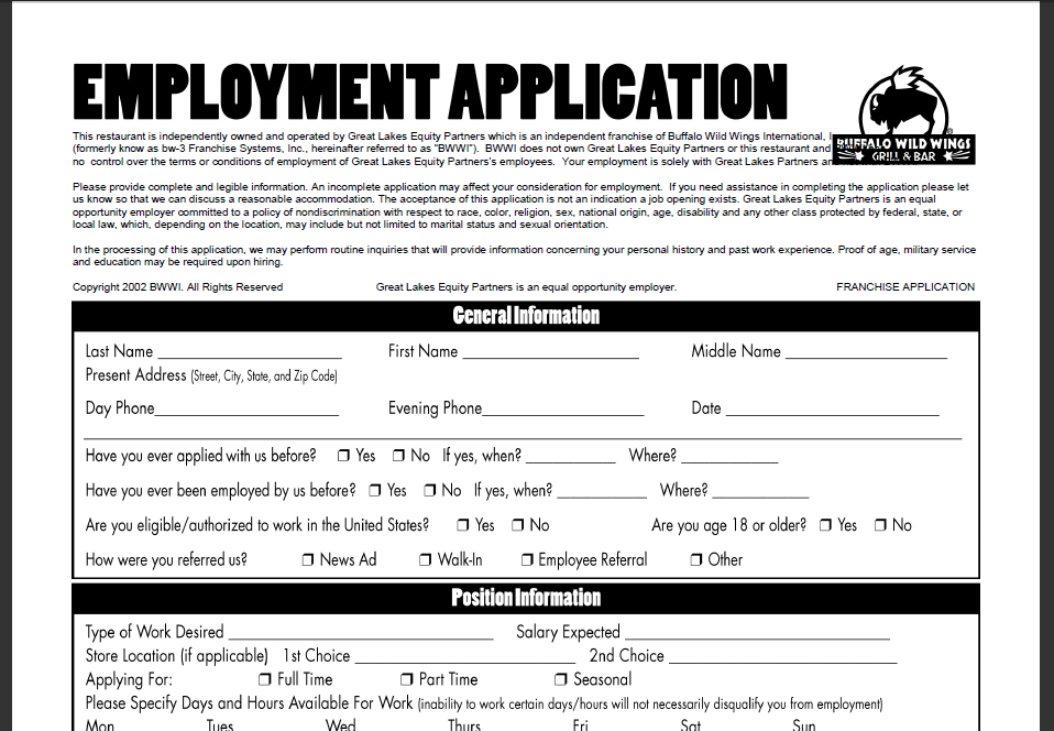 Buffalo Wild Wings Online Application The Job Headquarters Printable Job Applications Online Job Applications Job Application