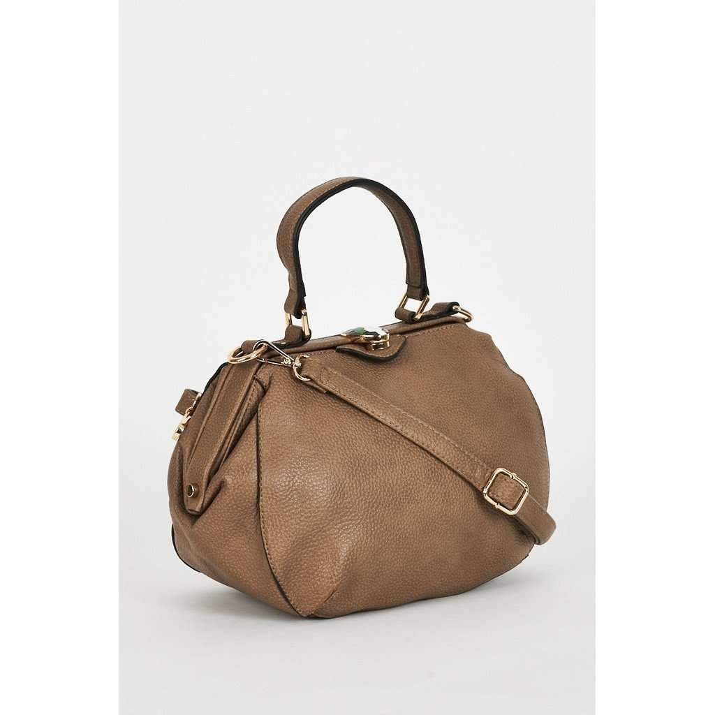 Textured Taupe Bag With Clasp Detail