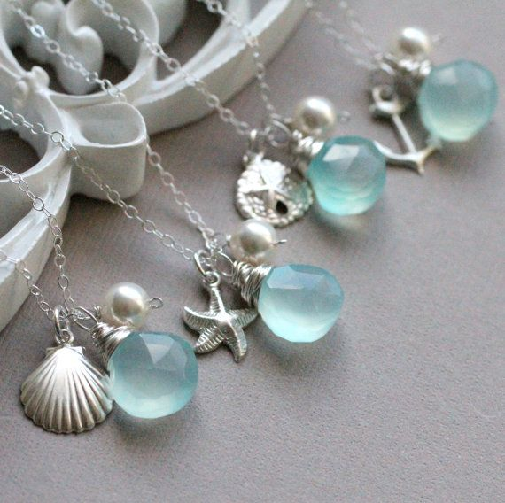 Gift Set Of Four Beach Wedding Necklaces Pick Your Custom Gemstone Color