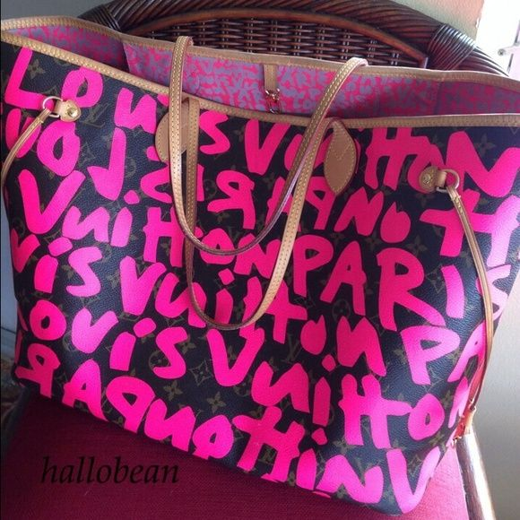 ecc8af2a788b I just discovered this while shopping on Poshmark  AUTH Louis Vuitton  Fuchsia Graffiti Neverfull GM. Check it out! Price   4000 Size  GM