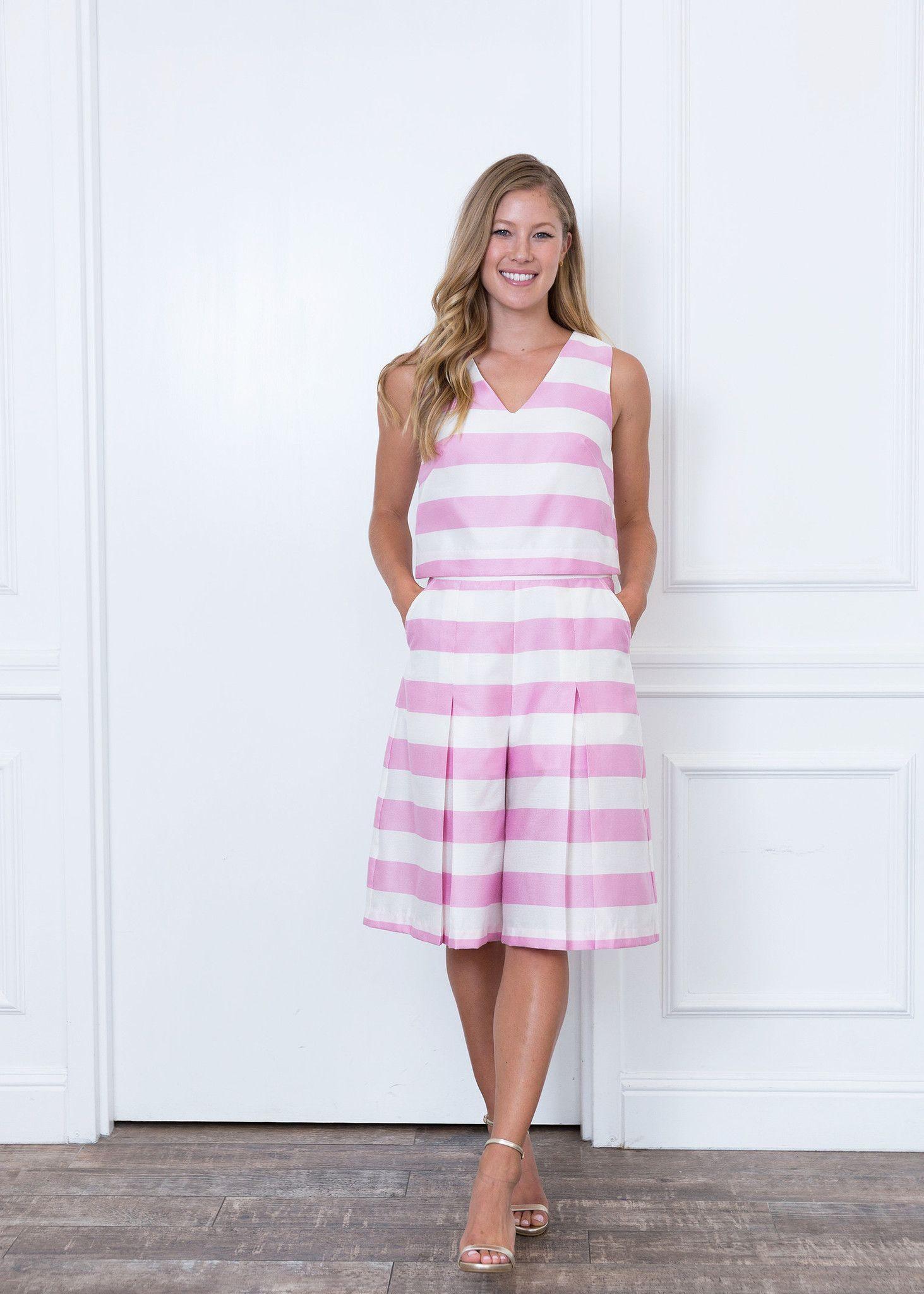 Sarah Pink Striped Crop Top