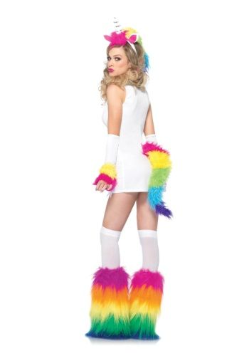 Adult Women/'s Rainbow Unicorn Cat Animal Clip On Tail Fantasy Costume Accessory