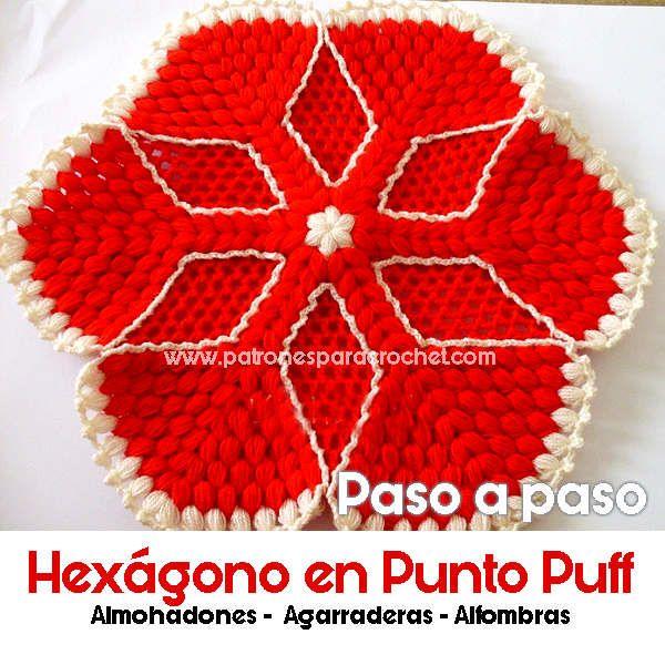 Cómo tejer un hexágono en punto puff al crochet para usar como ...