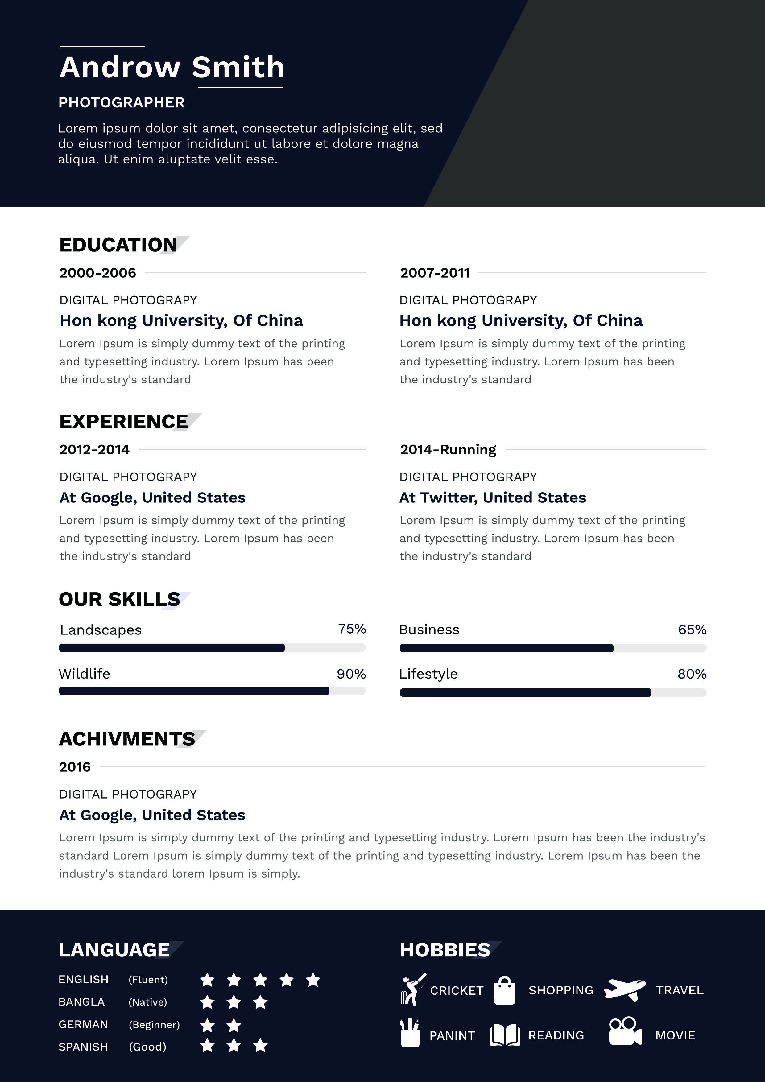 Photographer Resume Template Free Download Resume Template Free Resume Template Photographer Resume