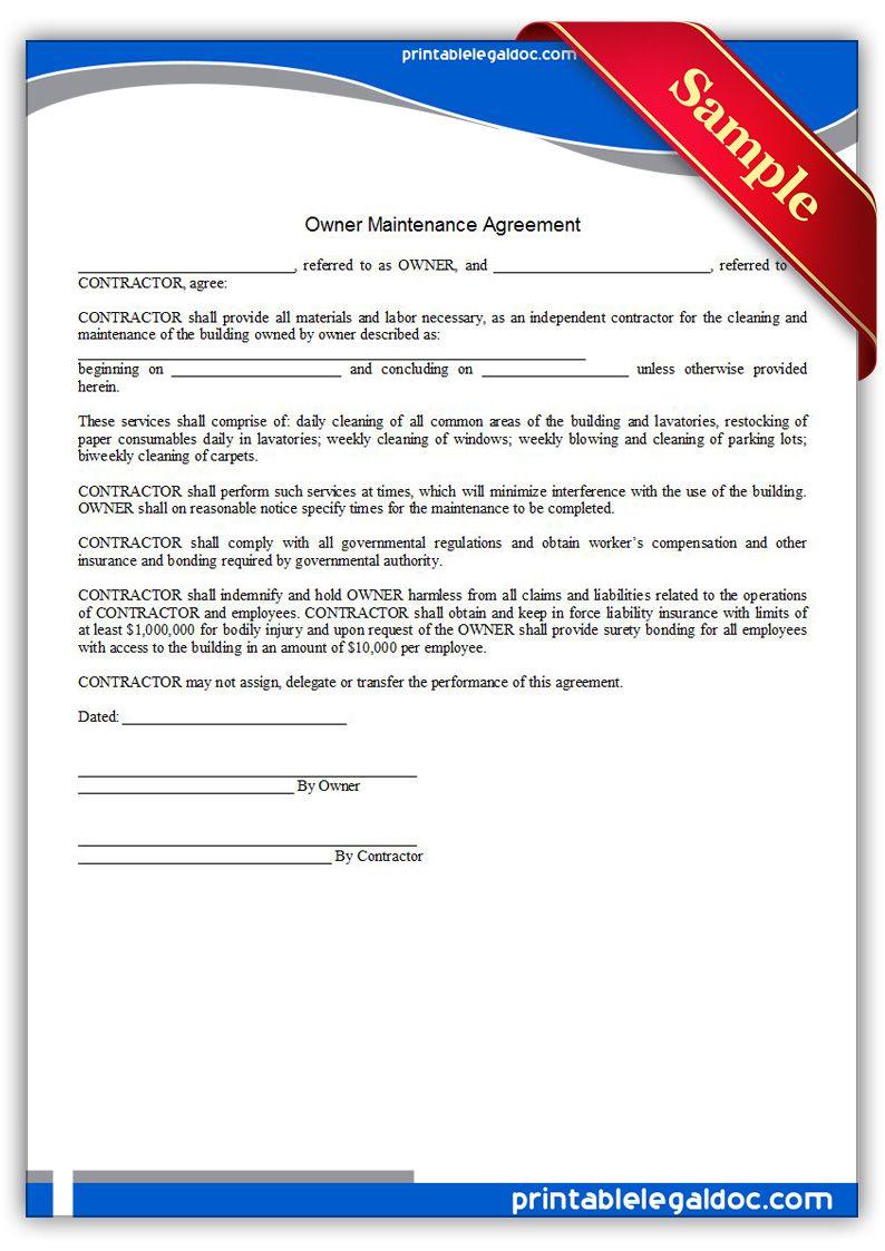 Free Printable Building Maintenance Agreement | Sample Printable ...