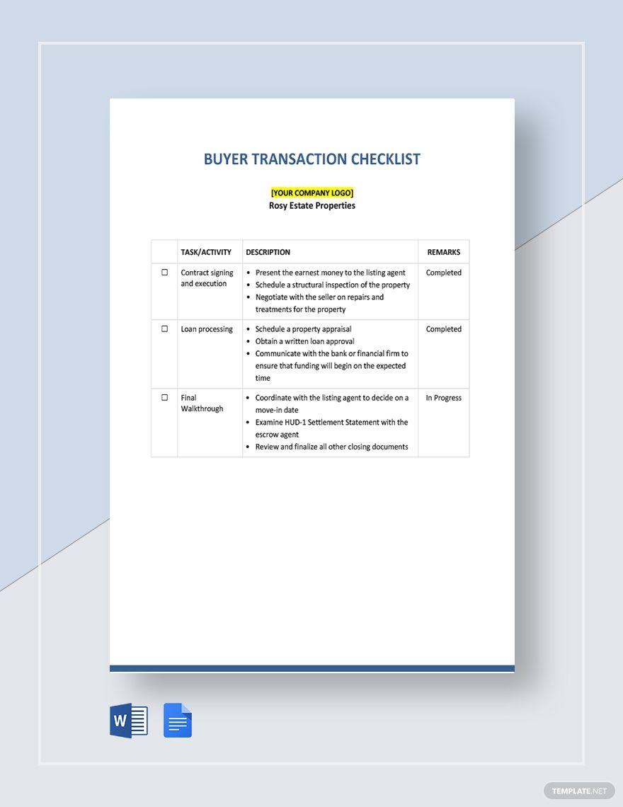 Buyer Transaction Checklist Template Free Pdf Word Doc Google Docs Checklist Template Templates Word Doc