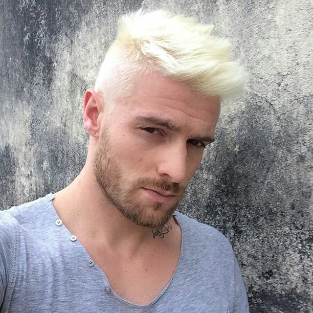 White Hair Bleached Beard Men Hairstyles Dyed White Hair Men Men Hair Color Blonde Dye