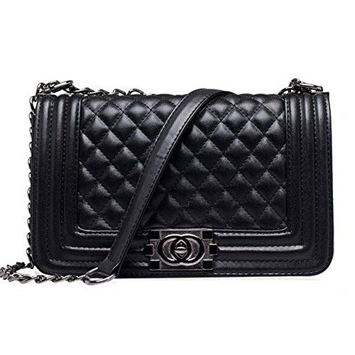 Mynos Fashion Famous Brand Plaid Chains Leather Women Crossbody Bag (Black)