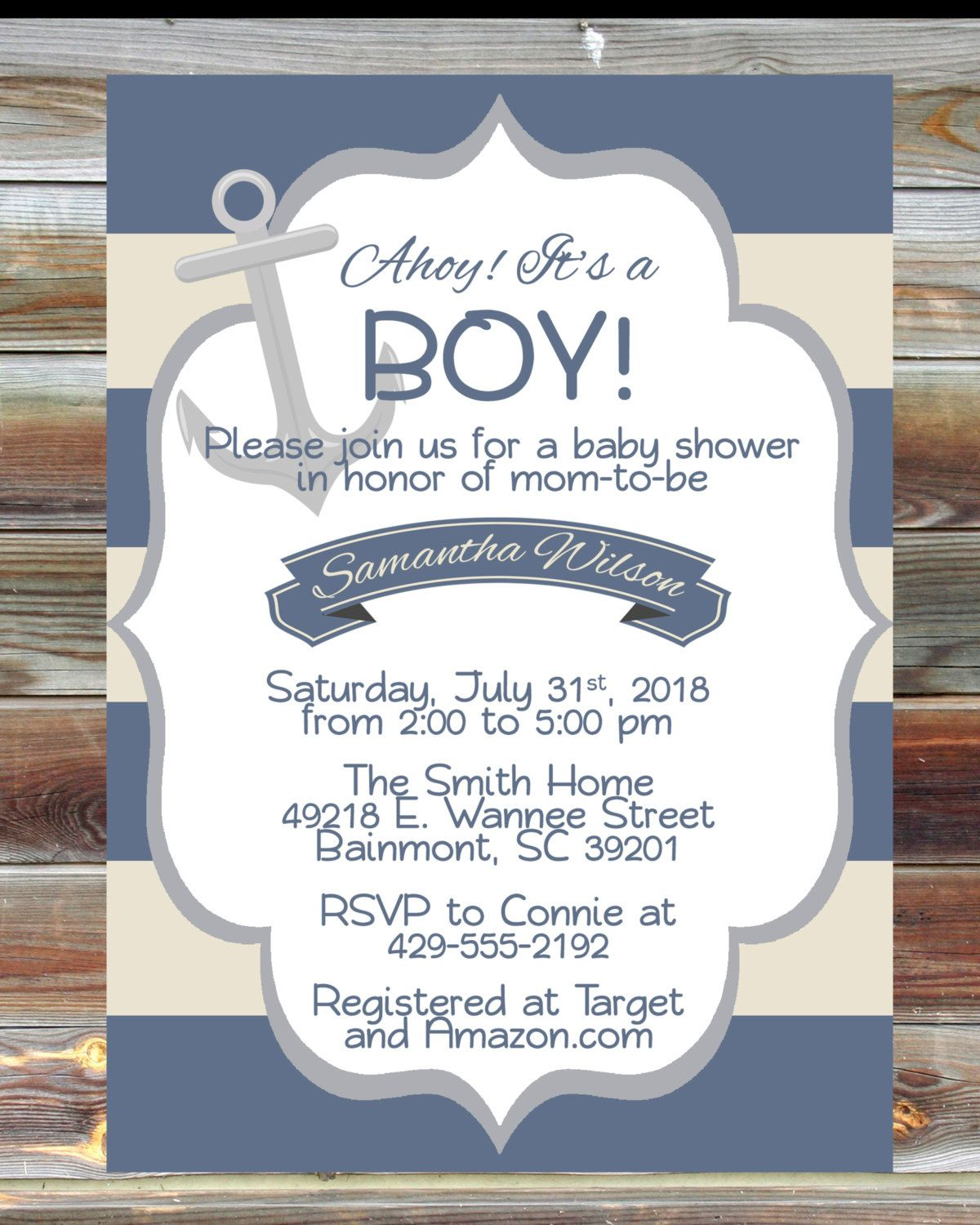 Nautical Theme Boy Baby Shower Invitation - Personalized Baby Shower ...