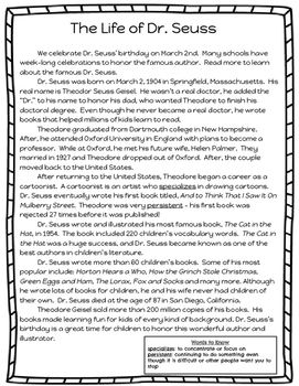 Dr Seus Reading Comprehension Passage And Graphic Organizer Thi Download I A On Essay