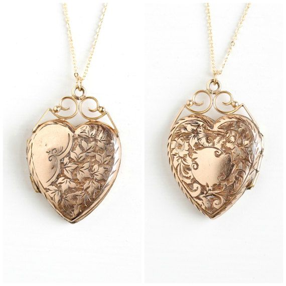 Antique victorian gold filled heart locket necklace vintage late antique victorian gold filled heart locket necklace vintage late 1800s ivy leaf flower fob charm mozeypictures Image collections