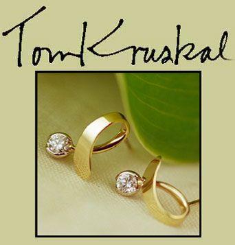 Beautiful 14k gold & diamond earrings, hand made by designer Tom Kruskal.