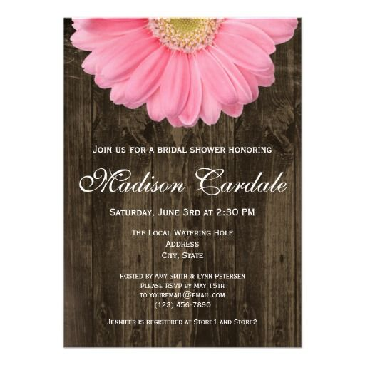 Rustic Daisy Wedding Invitations: Rustic Pink Gerber Daisy Bridal Shower Invitation